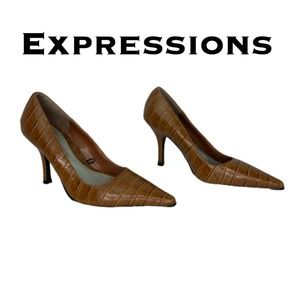 Expressions Brown Faux Alligator Heels Size 6 1/2
